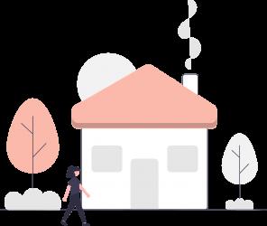 Illustration maison avec jardin